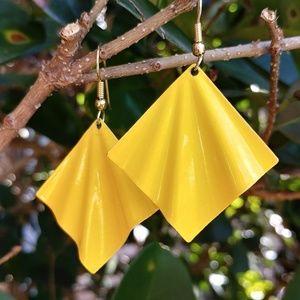 "Yellow 1"" vintage retro metal statement earrings"